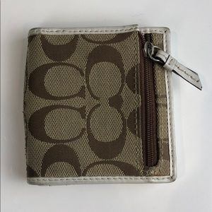 Coach Wallet with Zip Up Coin Holder on Front